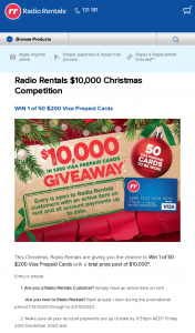 Radio Rentals – Win 1 of 50 $200 Visa Prepaid Cards With a Total Prize Pool of $10000.