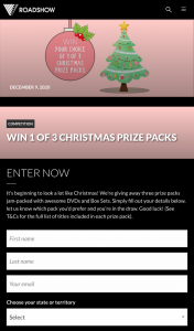 Roadshow Entertainment – Win 1 of 3 Christmas Prize Packs (prize valued at $99.95)