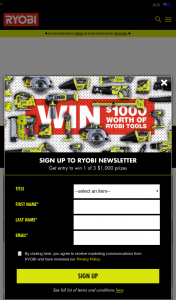 Ryobi – Win Their Choice of Ryobi Product/s to The Value of $1000. (prize valued at $3,000)