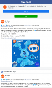 10 shake – Win 1 of 2 Blue's Clues and You