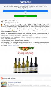 Sidney Wilcox Wines – Win 1 of 2 Mixed Cases of 6 Bottles of Wine (prize valued at $150)