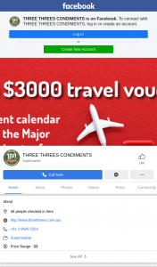 Three Threes Condiments – Win The Major Prize (prize valued at $3,000)