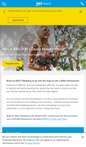 Book an RACV Wedding to – Win a $10000 Luxury Honeymoon (prize valued at $10,000)