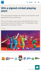 Bupa – Win a Signed Cricket Playing Shirt (prize valued at $300)