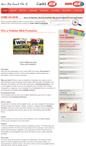 Carlos IGA – WonderWhite – Win a Webber Bbq Promotion (prize valued at $1,598)
