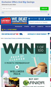 Chemist Warehouse – Garnier – Win a Maximum of One 1 Prize Excludes Sa Residents (prize valued at $21,730)