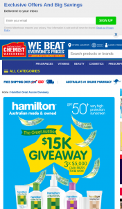 Chemist Warehouse – Hamilton Sunscreen – Win $5000 Awarded In The Form of an Eft (prize valued at $15,000)
