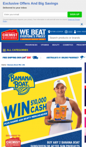 Chemist Warehouse-Banana Boat – Win $1000 Cash Plus Signed Ash Barty Merchandise (prize valued at $10,450)