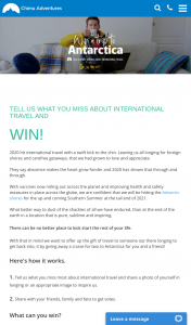 Chimu Adventures – Win Antarctic Cruise Or Flight (prize valued at $25,000)