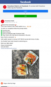 Foreshore Hotel – Win a Half Crayfish Est (prize valued at $30)