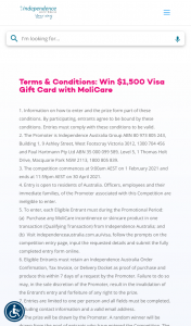 Independence Australia – Win $1500 Visa Gift Card With Molicare (prize valued at $1,500)