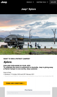 JEEP – Win a Patriot Camper (prize valued at $72,770)