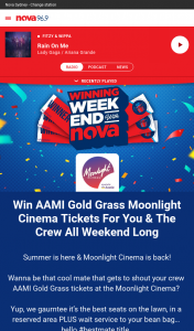 Nova 106.9 FM – Win Aami Gold Grass Moonlight Cinema Tickets for You & The Crew All Weekend Long