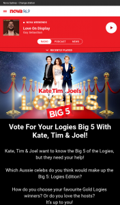Nova FM – Win Vote for Your Logies Big 5 With Kate