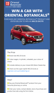 Pharmacy-Online Store -Oriental Botanicals – Win a Car- Mg Zs Excite Valued at $22490 (prize valued at $22,490)