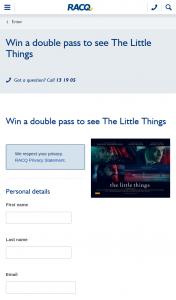 RACQ Living – Win a Double Pass to See The Little Things (prize valued at $40)