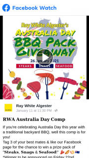"""Ray White Algester – Win Pack of """"𝐒𝐭𝐞𝐚𝐤𝐬 𝐒𝐧𝐚𝐠𝐬 & 𝐒𝐞𝐚𝐟𝐨𝐨𝐝"""" winner to Be Announced on Friday 22nd January"""