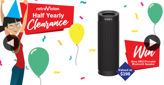 Retravision – Win a Sony Xb23 Portable Bluetooth Speaker Valued at $198. (prize valued at $198)