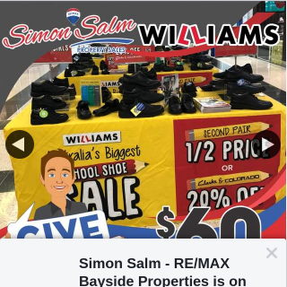 Simon Salm RE-MAX Bayside Properties – Win a $60 Gift Voucher at Williams Shoes for All Your Back to School Shoes Needs 👟