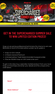 Snap-On Tools – Win Limited Edition Prizes (prize valued at $52,454.82)