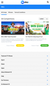 Ten Play – The Amazing Race – Win The Following Prize Package (prize valued at $24)