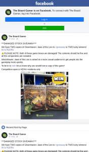 The Board Gamer – Win One of Two Damaged Copies of Gloomhaven Jaws of The Lion