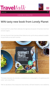 Travel Talk Mag – Tasty New Book (prize valued at $200)