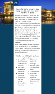 Viking Cruises – Win a 23-day European Sojourn River Cruise for Two In 2022 (prize valued at $25,000)