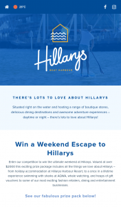 WA Department of Transport – Win a Weekend Escape to Hillarys (prize valued at $2,000)