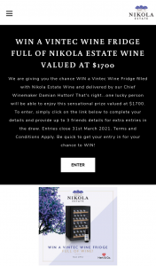 Win a Vintec Wine Fridge Full of Nikola Estate Wine Valued at $1700 (prize valued at $1,700)