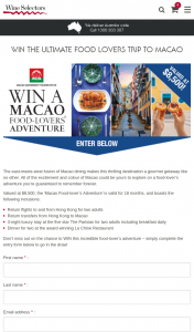 Wine Selectors – Win The Ultimate Food Lovers Trip to Macao (prize valued at $8,500)
