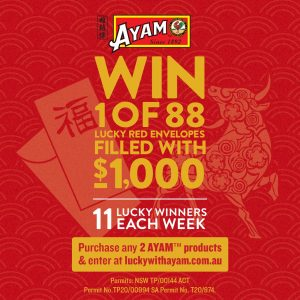 AYAM – Win 1 of 88 Lucky Red Envelopes filled with $1,000 each