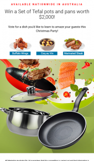 AP Marketing – Win a Set of Tefal Pots and Pans Worth $2000 (prize valued at $2,000)