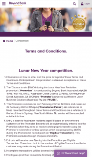 """Beyond Bank – Win $5000 During The Lunar New Year Festivities Promotion' (""""promotion"""") Is Conducted By Beyond Bank Australia Ltd (abn 15 087 651 143 Afsl / Australian Credit Licence 237856) 100 Waymouth Street (prize valued at $5,000)"""
