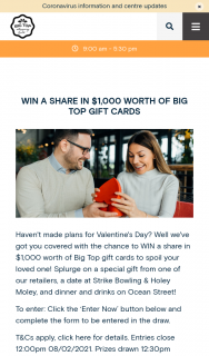 Big Top Shopping Centre – Win a Share In $1000 Worth of Big Top Gift Cards (prize valued at $1,000)