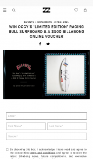 Billabong – Win Occy's 'limited Edition' Raging Bull Surfboard & a $500 Billabong Online Voucher Competition (prize valued at $2,000)