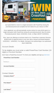 """Bunnings – PowerPass – Win a Jayco Crosshaul (""""promotion"""") (prize valued at $27,600)"""