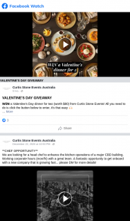 Curtis Stone Events – Win a Valentine's Day Dinner for Two Melbourne Cbd Pickup