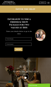 Impossible Occurrences – Win Dinner for Two and Two Tickets to The Show (prize valued at $166)