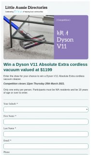 Little Aussie Directories – Win a Dyson V11 Absolute Extra Cordless Vacuum Valued at $1199 (prize valued at $1,199)