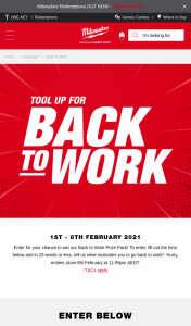 Milwaukee Tools – Win Our Back to Work Prize Pack (prize valued at $1,032)
