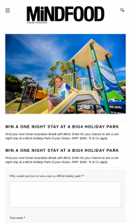 Mindfood – Win a One Night Stay at a Big4 Holiday Park (prize valued at $250)