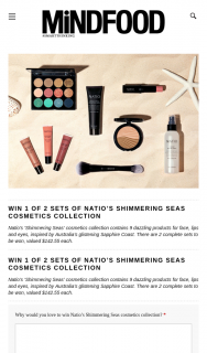 Mindfood – Win 1 of 2 Sets of Natio's Shimmering Seas Cosmetics Collection (prize valued at $142.55)