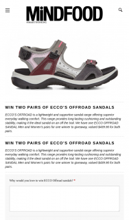 Mindfood – Win Two Pairs of Ecco's Offroad Sandals (prize valued at $439.9)