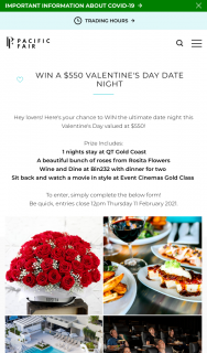 Pacific Fair Shopping Centre – Win a $550 Valentine's Day Date Night (prize valued at $550)