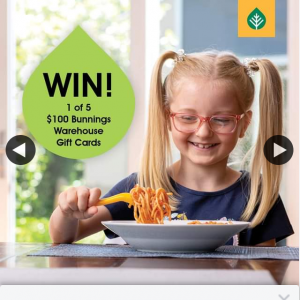 Pope Products – Win 1 In 5 $100 Bunnings Warehouse Gift Cards – simply Tell Us Your Favourite Summer Pasta Dish to Enter