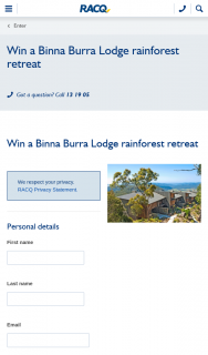 RACQ – Win a Binna Burra Lodge Rainforest Retreat (prize valued at $4,500)