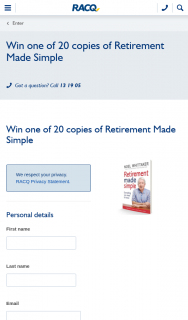 RACQ – Win One of 20 Copies of Retirement Made Simple (prize valued at $29.99)