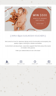 SUSUKOSHI – Win a $500 Susukoshi Voucher (prize valued at $500)