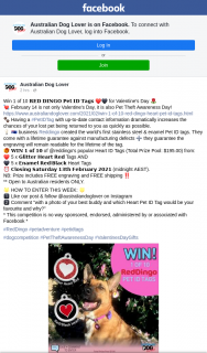 The Australian Dog Lover – Win 1 of 10 𝐑𝐄𝐃 𝐃𝐈𝐍𝐆𝐎 𝐏𝐞𝐭 𝐈𝐃 𝐓𝐚𝐠𝐬 ❤️🖤 for Valentine's Day 🌹